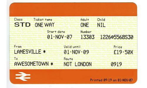 Пример ж/д билета с логотипом National Rail