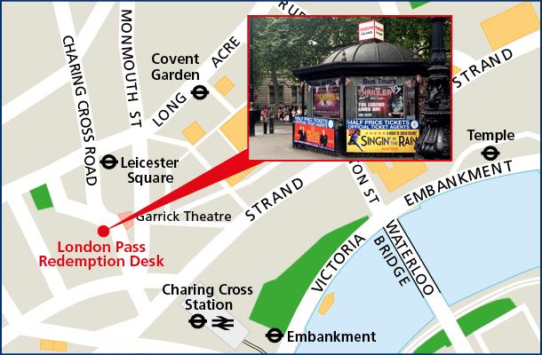 Адрес информационного центра, где можно забрать London Pass - Redemption Desk, 11a Charing Cross Road, London, WC2H 0EP