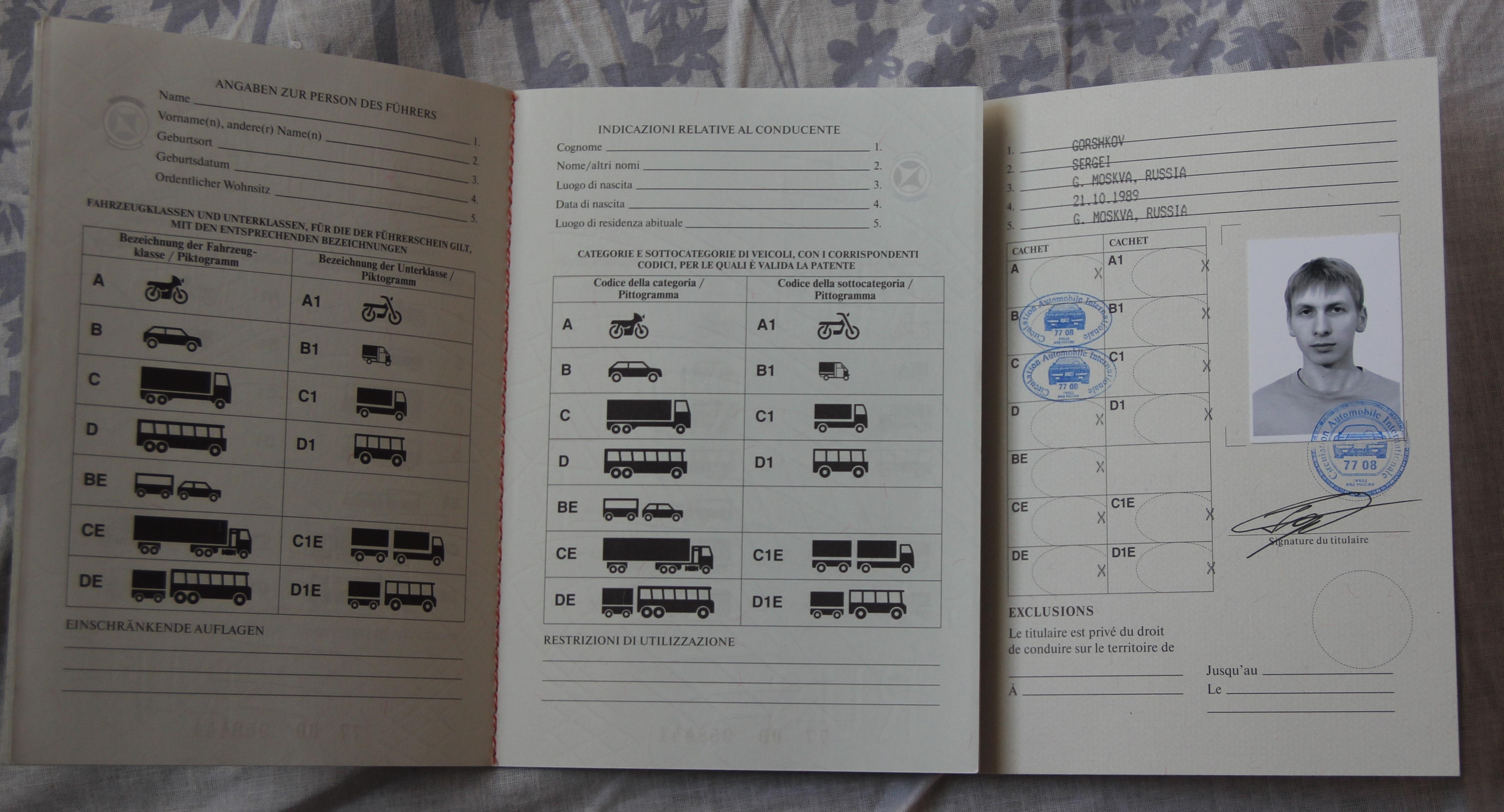 Международные водительские права в развороте