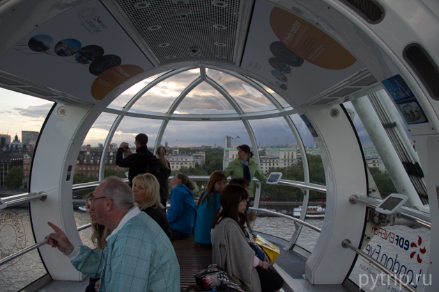 Внутри капсулы London Eye