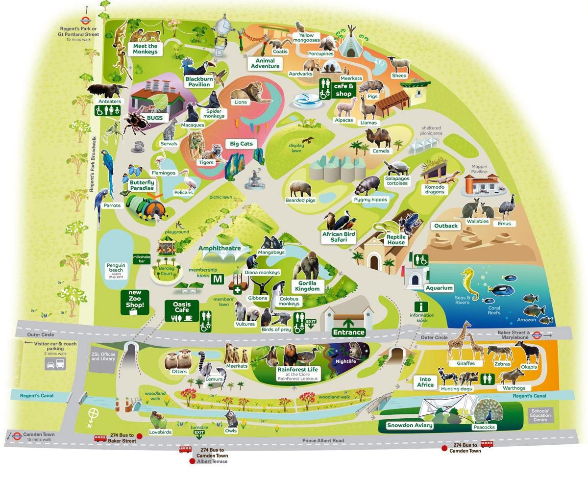 карта лондонского зоопарка