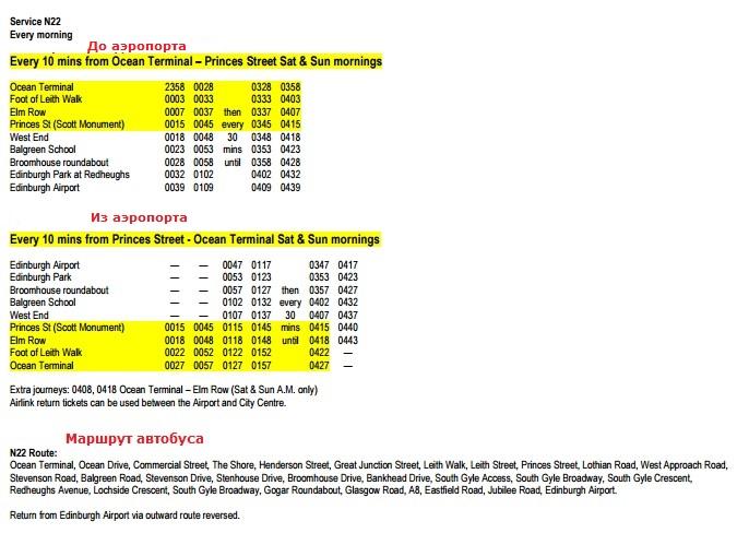 Расписание ночных автобусов