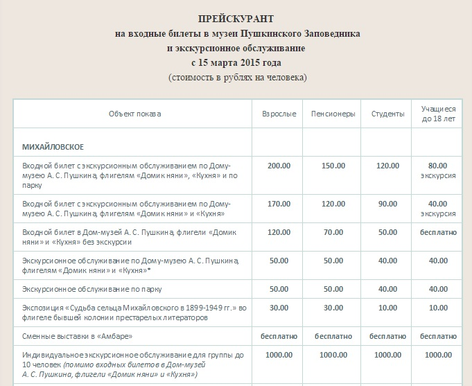 стоимость посещения села Михайловское
