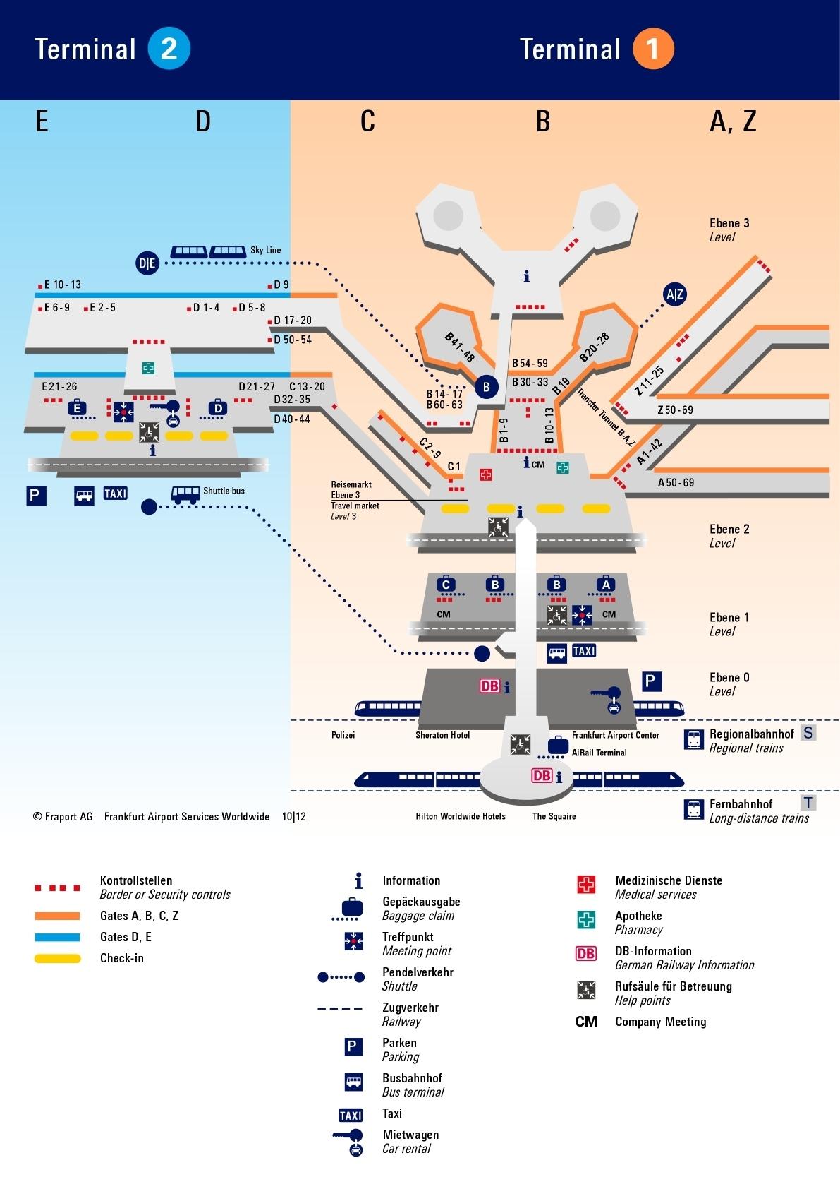 Схема терминалов аэропорта Франкфурт на Майне